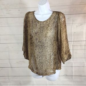 Umgee Snakeskin Semi Sheer Top Size Small